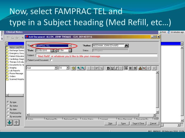 Now, select FAMPRAC TEL and