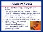 prevent poisoning