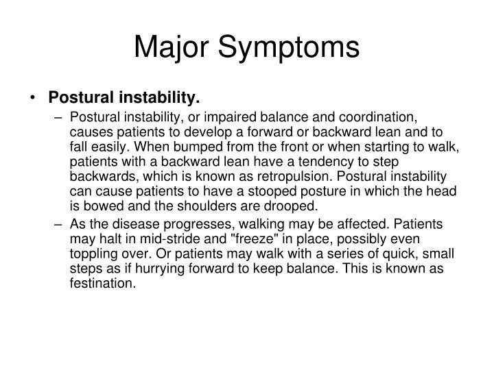 Major Symptoms