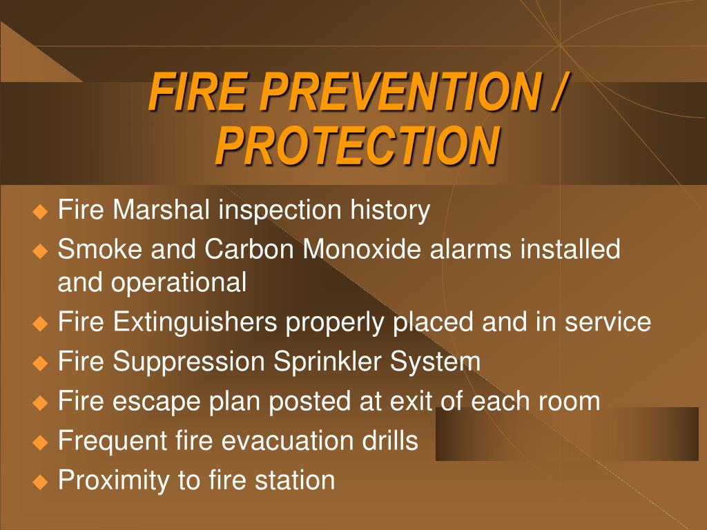 FIRE PREVENTION / PROTECTION