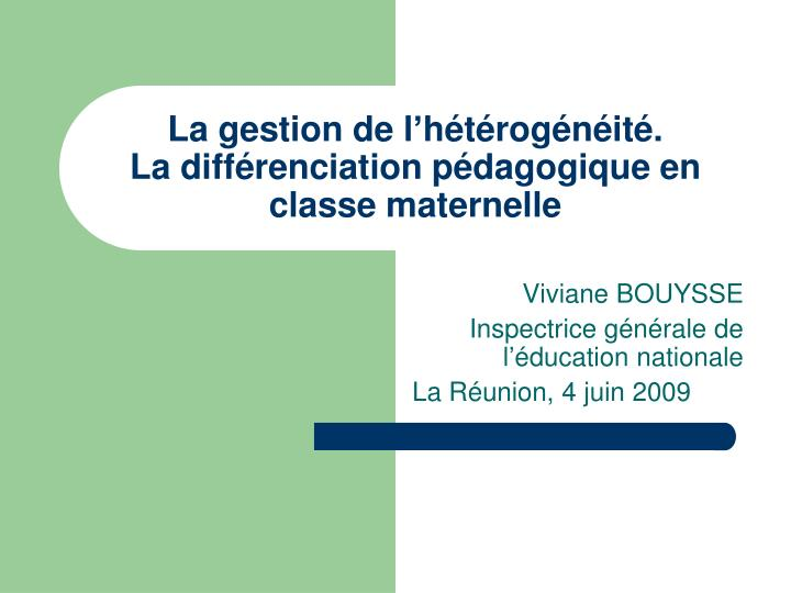 la gestion de l h t rog n it la diff renciation p dagogique en classe maternelle n.