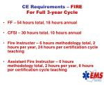 ce requirements fire for full 3 year cycle