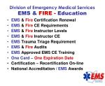division of emergency medical services ems fire education
