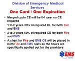 division of emergency medical services one card one expiration74