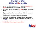 division of ems ems and fire audits