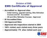 division of ems ems certificate of approval