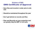 division of ems ems certificate of approval69