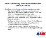 ems continuing education instructor oac 4765 18 15