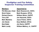 firefighter and fire safety inspector training committee