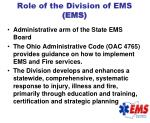 role of the division of ems ems