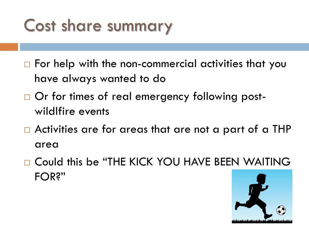 Cost share summary