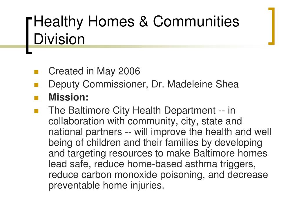 Healthy Homes & Communities Division
