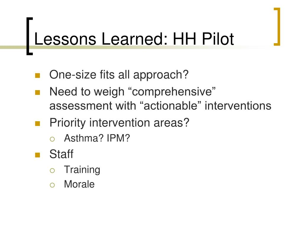 Lessons Learned: HH Pilot