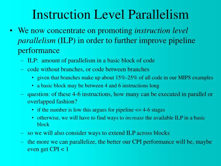 instruction level parallelism n.