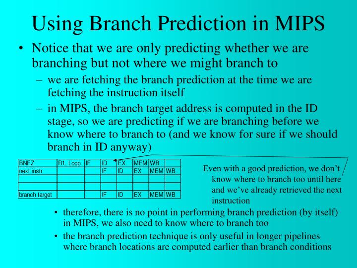 Using Branch Prediction in MIPS