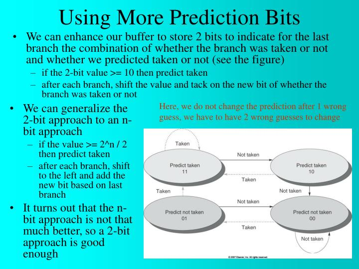 We can enhance our buffer to store 2 bits to indicate for the last branch the combination of whether the branch was taken or not and whether we predicted taken or not (see the figure)