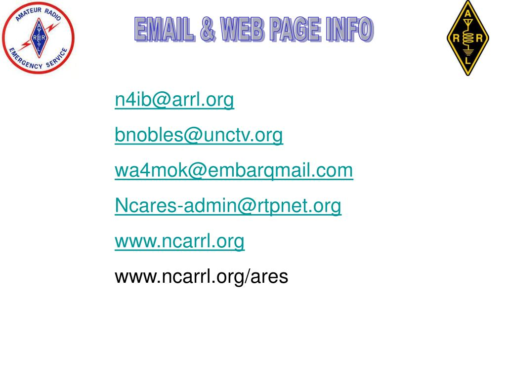 EMAIL & WEB PAGE INFO