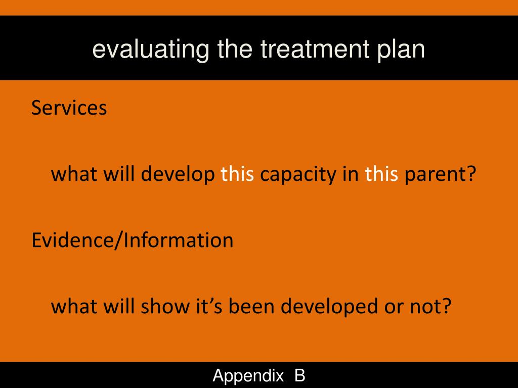 evaluating the treatment plan