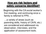 how are risk factors and safety concerns identified