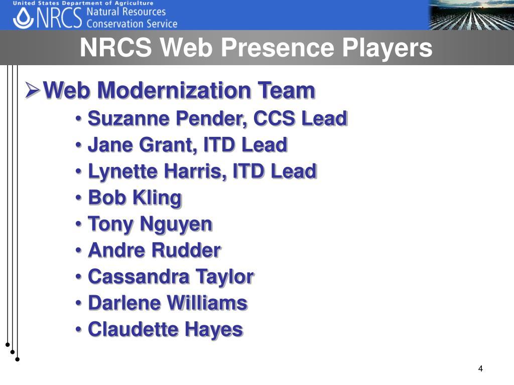 NRCS Web Presence Players