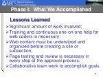 phase i what we accomplished16