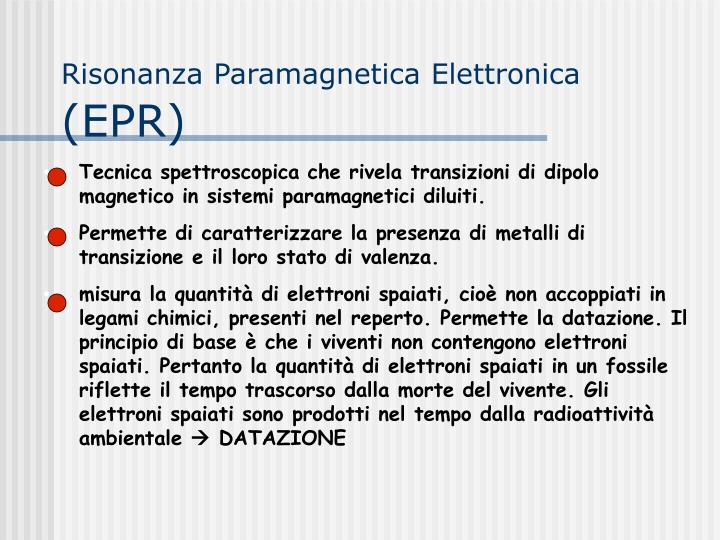 Risonanza Paramagnetica Elettronica