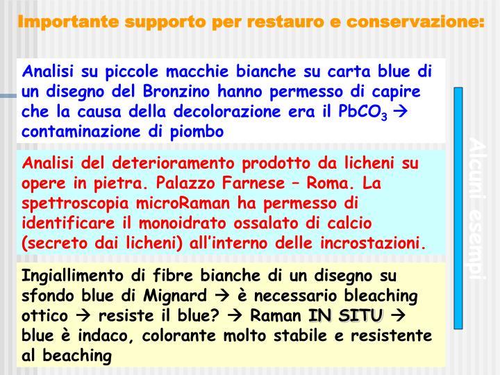 Analisi su piccole macchie bianche su carta blue di un disegno del Bronzino hanno permesso di capire che la causa della decolorazione era il PbCO