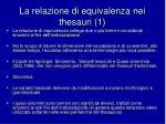 la relazione di equivalenza nei thesauri 1
