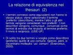 la relazione di equivalenza nei thesauri 2