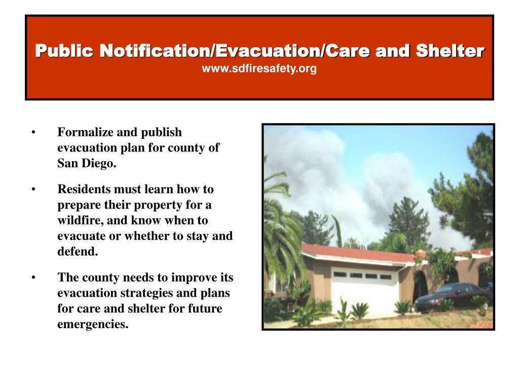Public Notification/Evacuation/Care and Shelter