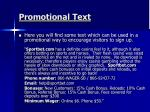 promotional text