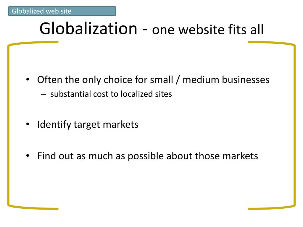 Globalized web site