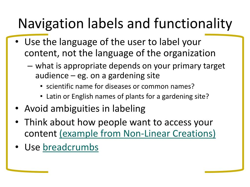 Navigation labels and functionality