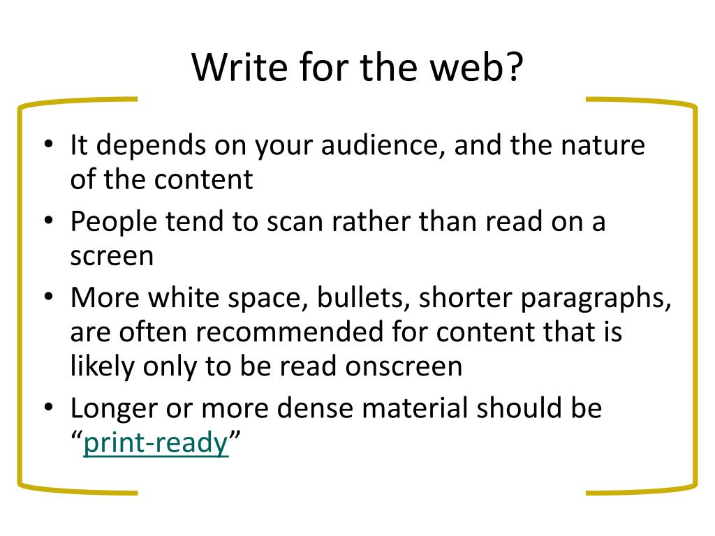Write for the web?