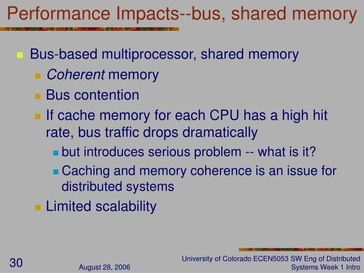 Performance Impacts--bus, shared memory
