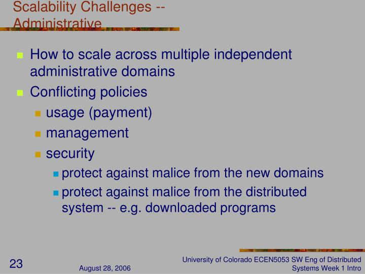 Scalability Challenges -- Administrative