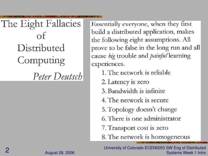 University of Colorado ECEN5053 SW Eng of Distributed Systems Week 1 Intro