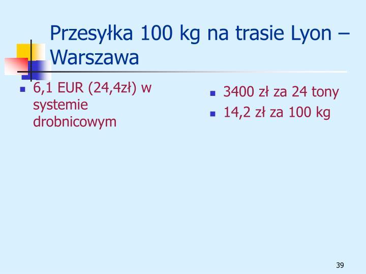 6,1 EUR (24,4zł) w systemie drobnicowym