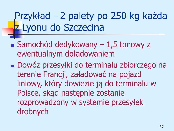 Przykład - 2 palety po 250 kg każda z Lyonu do Szczecina
