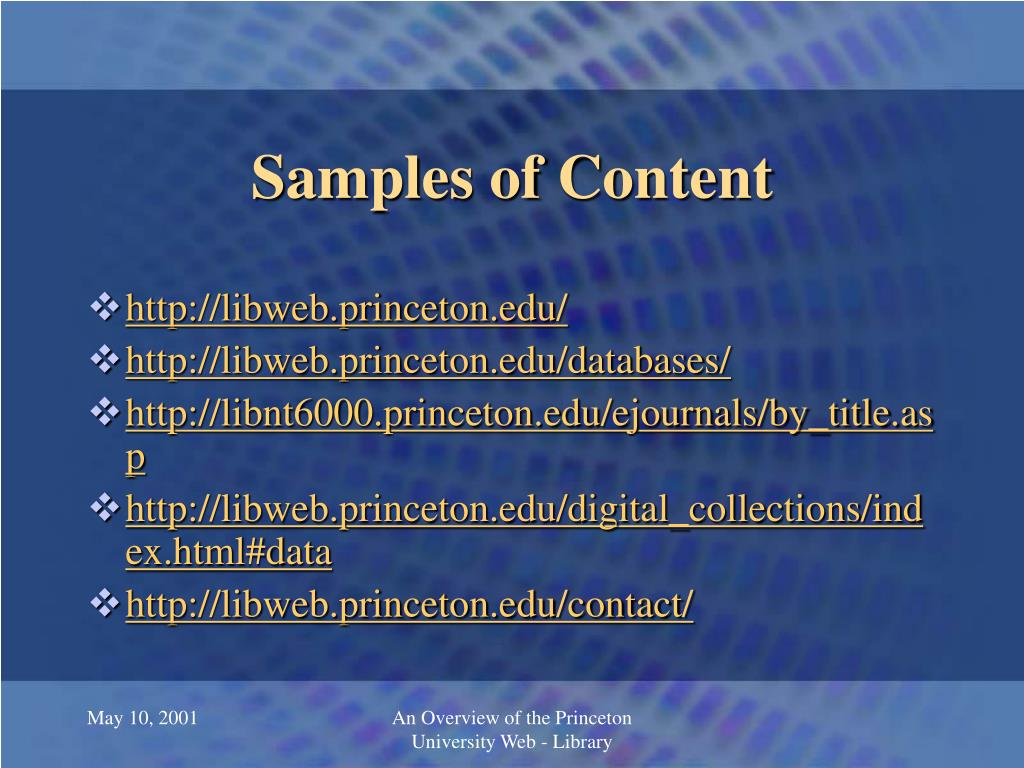 Samples of Content