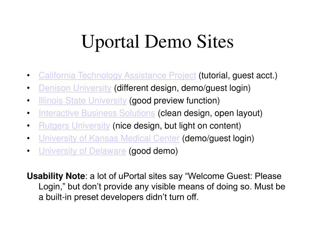 Uportal Demo Sites