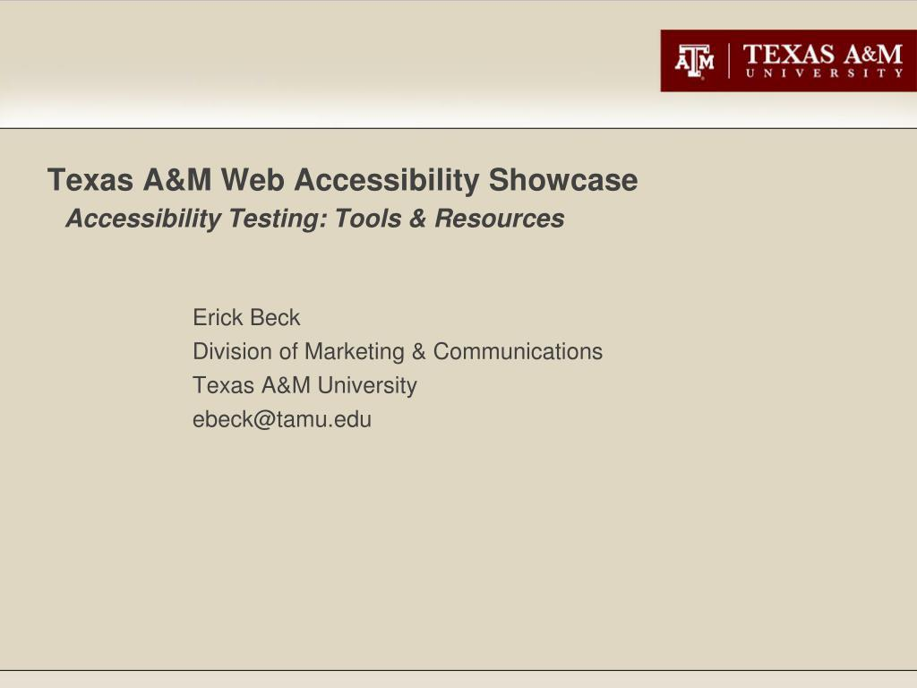 texas a m web accessibility showcase accessibility testing tools resources l.