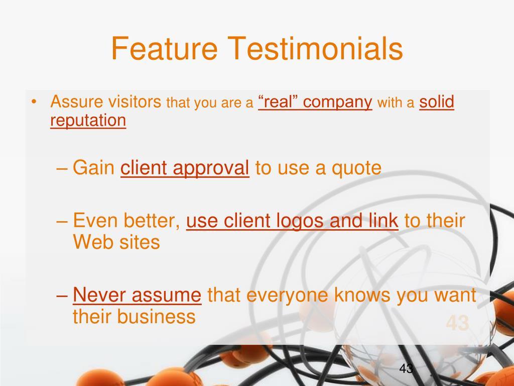 Feature Testimonials