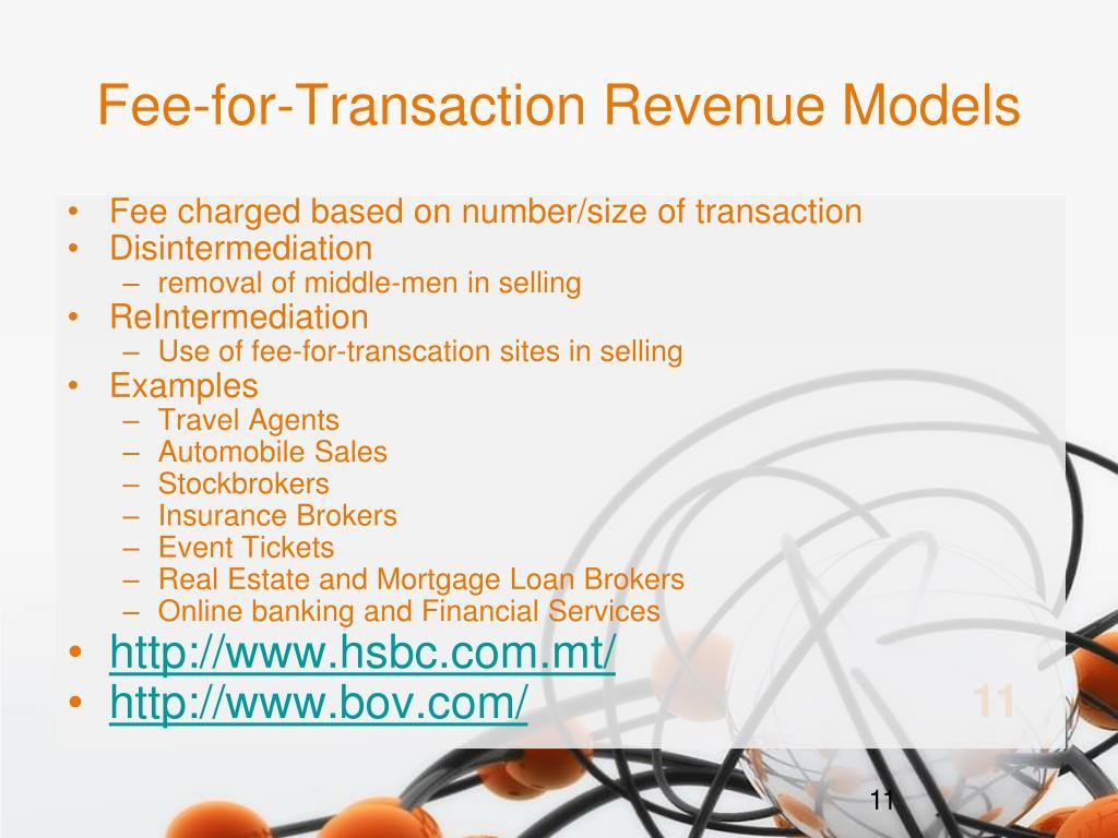 Fee-for-Transaction Revenue Models