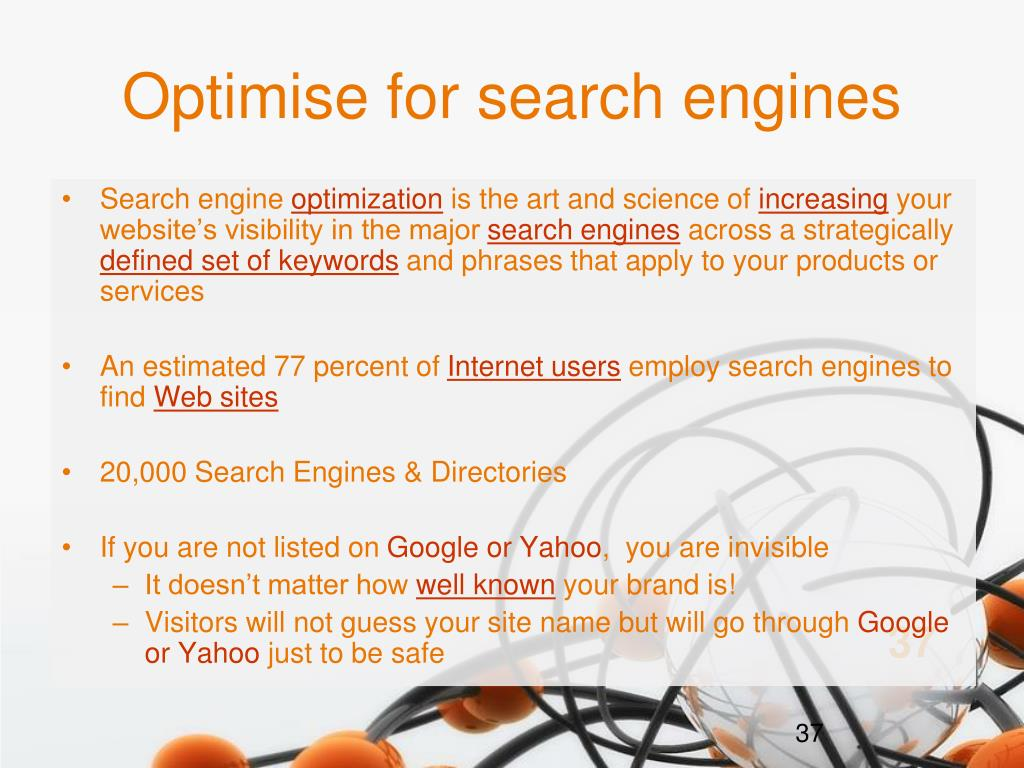 Optimise for search engines