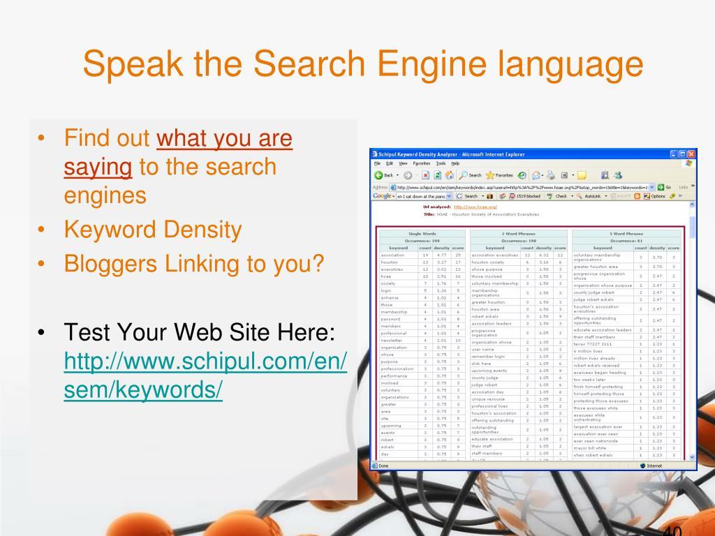 Speak the Search Engine language