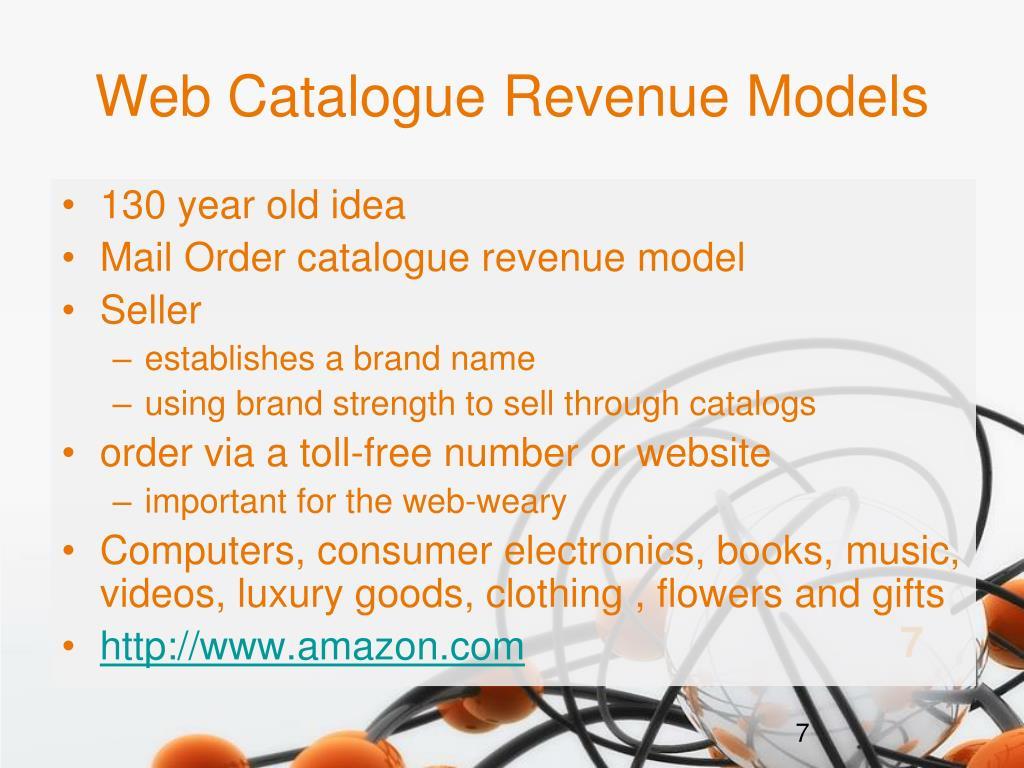 Web Catalogue Revenue Models