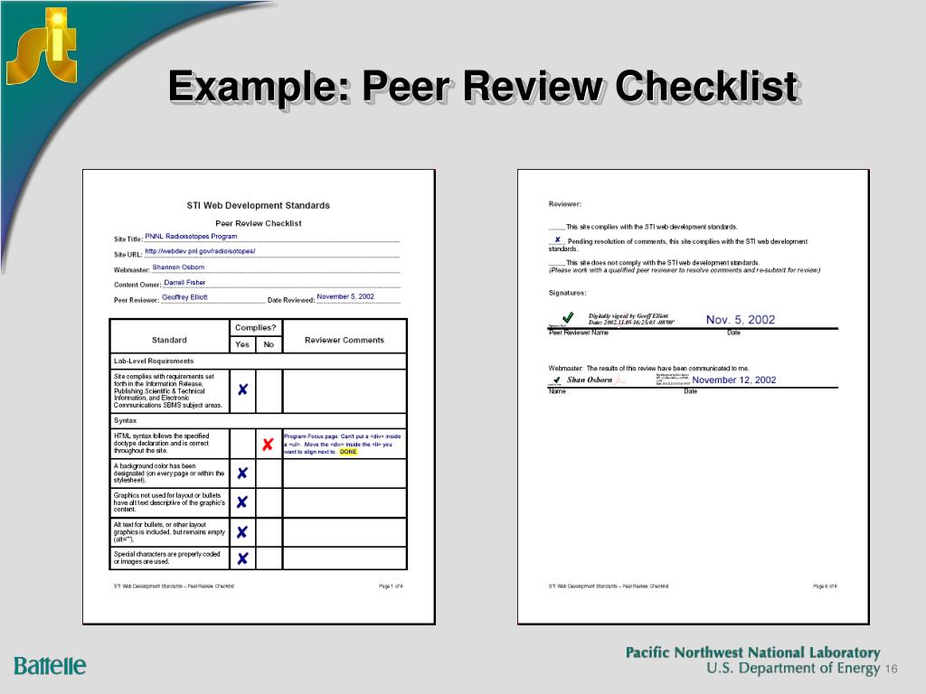 Example: Peer Review Checklist