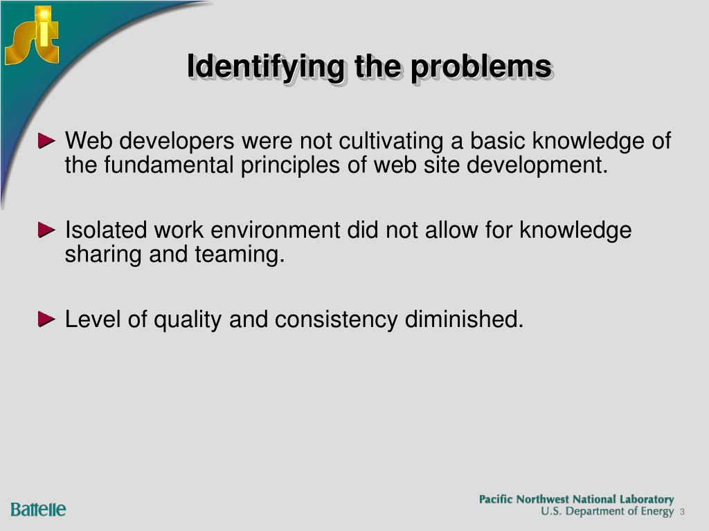 Identifying the problems