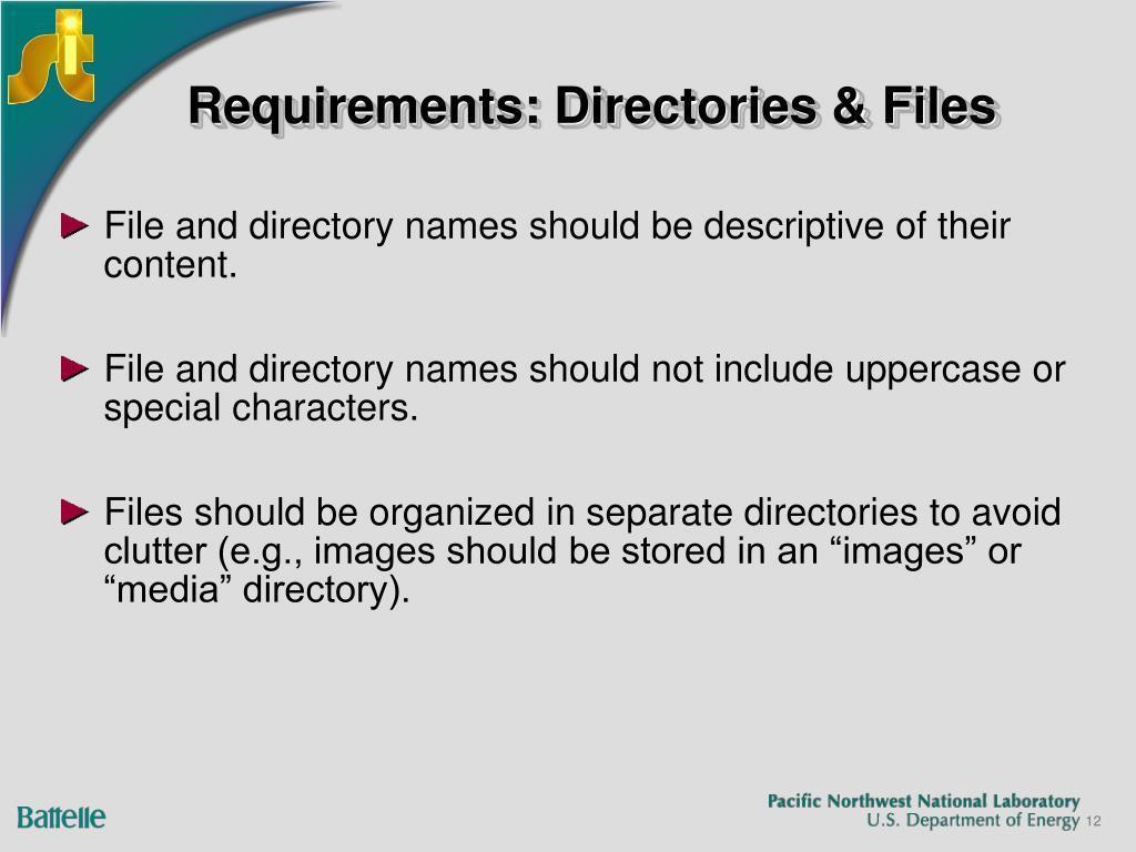 Requirements: Directories & Files